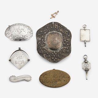 A group of eight silver, gold, and brass fraternal and administrative fob pendants and buckles 18th/19th century