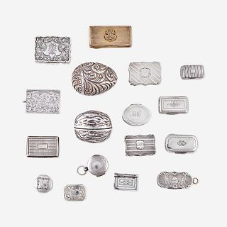 A collection of seventeen George III and Victorian sterling silver vinaigrettes and nutmeg graters Various makers, most English, late 18th and 19th ce
