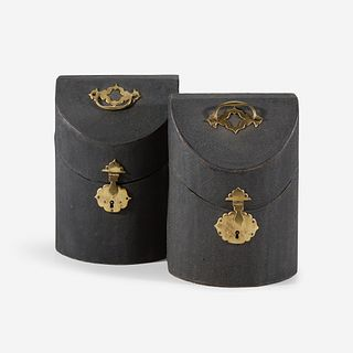 A pair of George II shagreen knife boxes circa 1750
