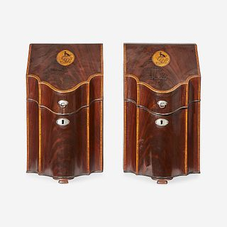 A pair of Federal inlaid mahogany knife boxes circa 1800