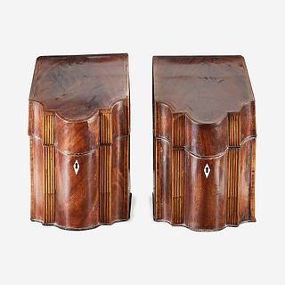 A pair of George III inlaid mahogany knife boxes late 18th/early 19th century