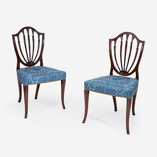 A pair of George III shield-back mahogany side chairs circa 1790