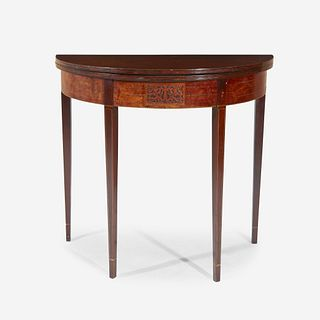 A George III inlaid mahogany and burl walnut veneered demilune card table circa 1800