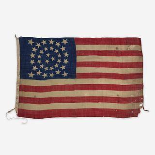 A Civil War 35-Star Camp Color commemorating West Virginia statehood circa 1863-1865