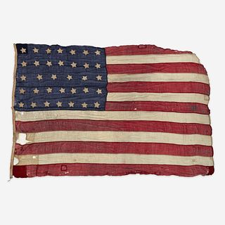 A large Civil War 34-Star American Flag commemorating Kansas statehood circa 1861