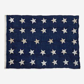 A 34-Star canton or Naval Jack commemorating Kansas statehood circa 1861