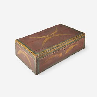 A painted and decorated wood box 19th century