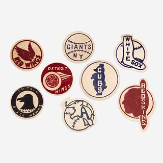 Eight flocked warming jacket patches for baseball, football, and hockey first half 20th century