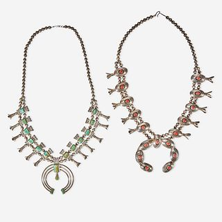 Two Southwest squash blossom necklaces 20th century