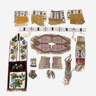 A collection of American Indian beaded hide and cloth accessory items mid 19th/early 20th century