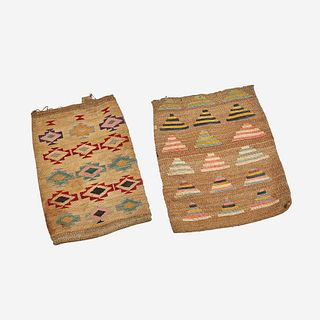 Two Plateau double-sided twined cornhusk bags Nez Perce, late 19th/early 20th century