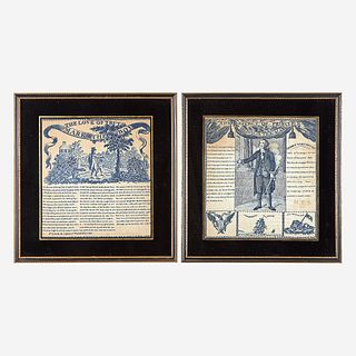 Two copperplate-printed George Washington commemorative handkerchiefs in blue circa 1806