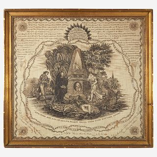"A rare copperplate-printed handkerchief, ""Sacred to the Memory of George Washington"" Glasgow, Scotland, circa 1800"