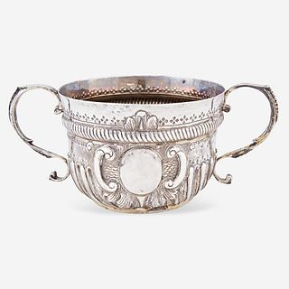 "A George II sterling silver twin-handled caudle cup Marked ""RB,"" possibly Richard Beale, London, 1733"