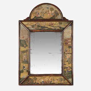 A Queen Anne style needlework and burl walnut mirror late 18th/early 19th century