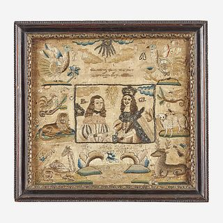 A Charles II commemorative embroidered panel England, mid-17th century