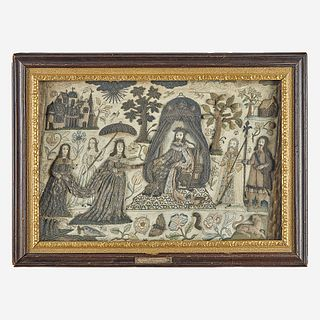 An embroidered stumpwork panel of King Solomon receiving The Queen of Sheba England, mid-17th century