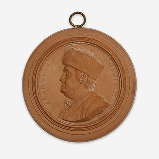 Jean-Baptiste Nini (Italian, 1717-1786) A terracotta portrait medallion of Benjamin Franklin (1706-1790), France, 1777