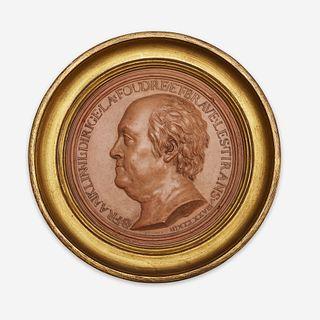 Jean-Baptiste Nini (Italian, 1717-1786) A terracotta portrait medallion of Benjamin Franklin (1706-1790), France