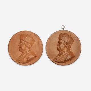 Jean-Baptiste Nini (Italian, 1717-1786) Two terracotta portrait medallions of Benjamin Franklin (1706-1790), France