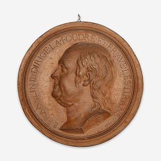 Jean-Baptiste Nini (Italian, 1717-1786) A terracotta portrait medallion of Benjamin Franklin (1706-1790), France, 1779