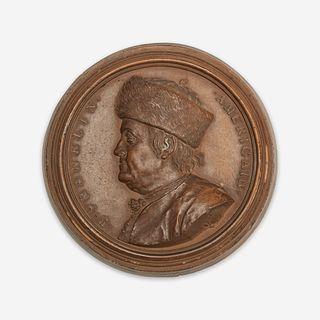 Jean-Baptiste Nini (Italian, 1717-1786) A rare terracotta portrait medallion of Benjamin Franklin (1706-1790), France, 1777