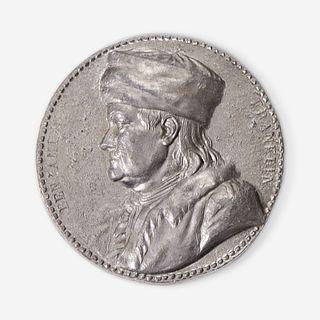 After Jean-Baptiste Nini (Italian, 1717-1786) A cast lead portrait medallion of Benjamin Franklin (1706-1790)