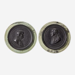 After Jean Martin Renaud (French, 1746-1821) Rare pair of painted plaster portrait medallions: Benjamin Franklin (1706-1790) and George Washington (17