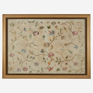 An English embroidered silk panel early 18th century