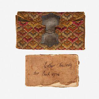 """An Irish stitch pocketbook of John Stevens, Jr. Possibly Perth Amboy, NJ,  dated """"1774"""""""