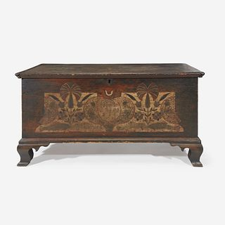 "A Chippendale painted and decorated blanket chest Northampton County (now Lehigh County), PA, dated, ""1781"""