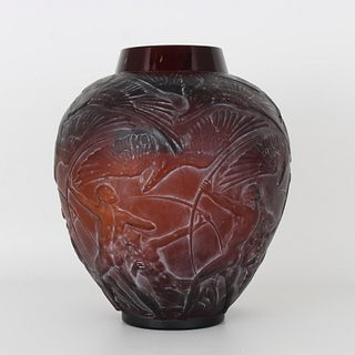 """R. Lalique """"Archers"""" Red Amber Glass Vase"""