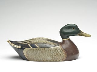 Exceptional mallard drake, Al Reis, and finished by Runner Rodell, Chicago, Illinois, circa 1940.