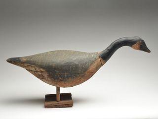 Hollow carved hissing Canada goose on ice platform, John Brooks, Freeland, Prince Edward Island.