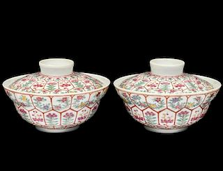 PAIR OF FAMILLE VERTE PORCELAIN BOWLS AND COVERS
