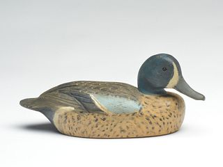 Early and well carved bluewing teal drake, Ben Schmidt, Detroit, Michigan, circa 1945.
