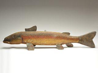 Rainbow trout trade sign, Oscar Peterson, Cadillac, Michigan, circa 1930.