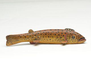 Brown trout fish decoy, Oscar Peterson, Cadillac, Michigan.