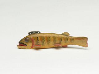 Stylish and unusual perch fish decoy, Oscar Peterson, Cadillac, Michigan, 2nd quarter 20th century.