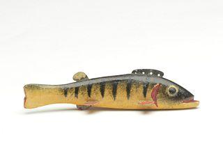 Perch fish decoy, Oscar Peterson, Cadillac, Michigan, 2nd quarter 20th century.