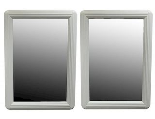 PAIR OF WHITE LACQUERED MIRRORS