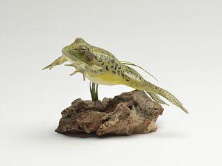 Carved wood leaping pickle frog, Steve Weaver, Cape Cod, Massachusetts.