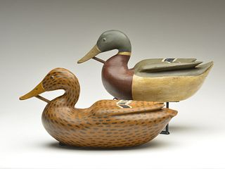 Pair of hollow carved mallards, carved in the style of the Caines Brothers, Frank Finney, Cape Charles, Virginia.
