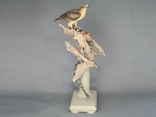 Full size red tail hawk on wooden base, William Gibian, Onancock, Virginia.