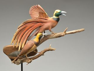 Well executed double mount carving of birds of paradise, William Gibian, Onancock, Virginia.
