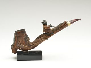 Early black Americana tobacco pipe, possibly made by Seminol Indians.