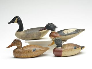 Four miniature carvings, Nathan Rowley Horner, West Creek, New Jersey.