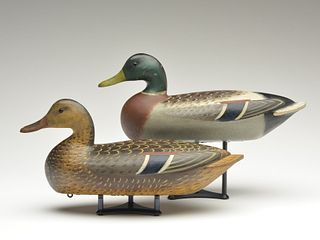 Excellent pair of mallards, Charles Perdew, Henry, Illinois, 2nd quarter 20th century.