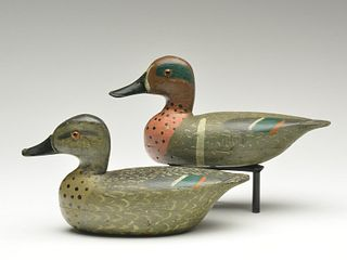 Rigmate pair of greenwing teal, Otto Garren, Canton, Illinois, 2nd quarter 20th century.