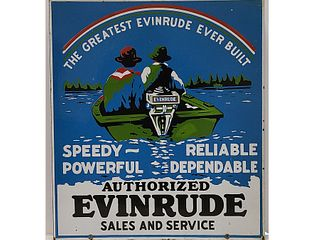 Two sided porcelain trade sing, Evinrude.